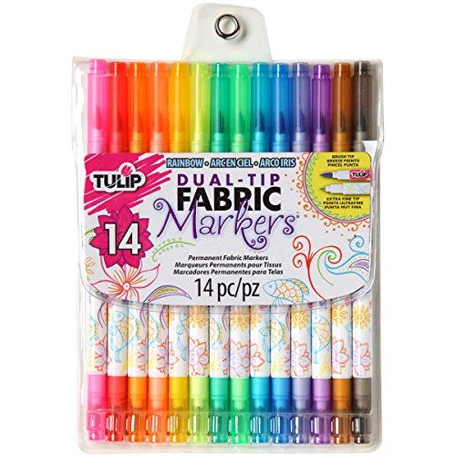 Tulip Darice Fabric Markers: Dual Tip, Multicolor, 14 pack