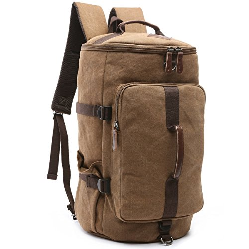 Vintage Canvas Men Holdall Weekend Travel Duffel Bag Backpack Messenger Shoulder Bags Convertible Travel Hiking Rucksack Weekender Overnight Bag Handbag (Coffee) ()