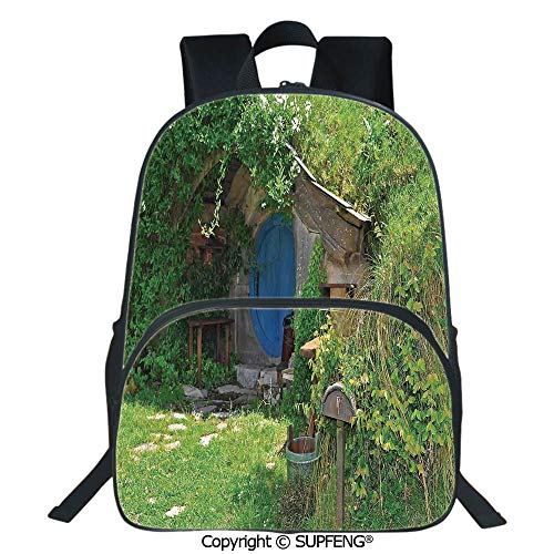 SCOXIXI Backpack Fantasy Hobbit Land House in Magical Overhill Woods Movie Scene New Zealand (15.75