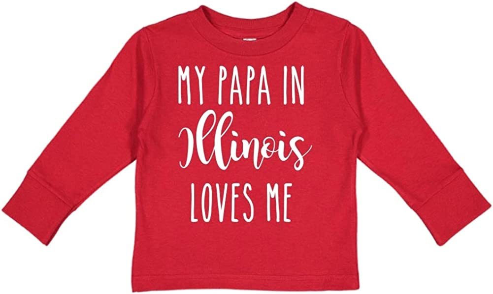 Toddler//Kids Long Sleeve T-Shirt My Papa in Illinois Loves Me
