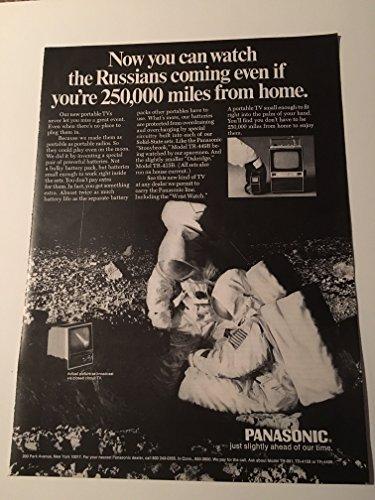 1969 Panasonic Portable TV On Moon & Head Set Headphones Magazine Print Advertisement Lot of 2