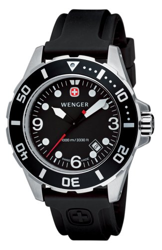 Wenger Men's 72235 AquaGraph 1000M Watch with Rubber Strap (Black)