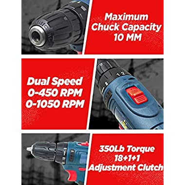 JPT HEAVY DUTY 12V CORDLESS DRILL/SCREW DRIVER WITH 2 BATTERIES 10