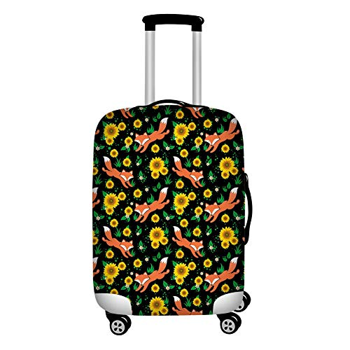 Upetstory Personalized Suitcase Protector Small 18-21 inch Washable Durable Travel Luggage Covers Fox & Flower Design