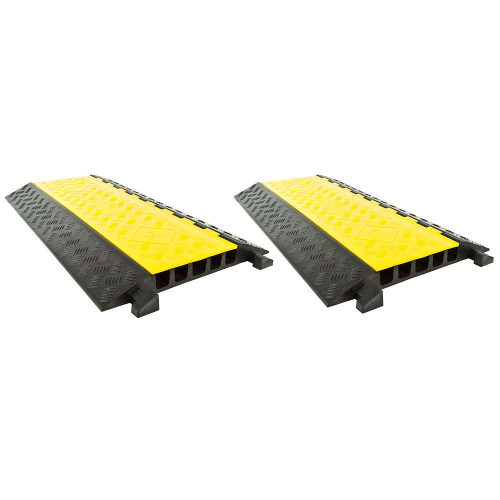 2-Pack Bundle of 5-Channel Modular Industrial Rubber Cable Ramp Middle Sections