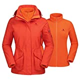 Camel Waterproof Ski Jacket 3-in-1 Women's/Men's Outdoor Mountain Windproof Fleece Warm Coat for Rain Snow Hiking