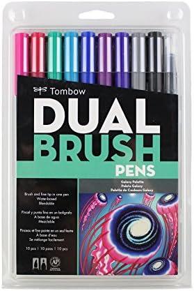 Tombow 56185 Marcadores artísticos de doble pincel, brillantes, paquete de 10. Mezclador, pincel y marcadores de punta fina, Art Deco, Galaxy, 1, 1