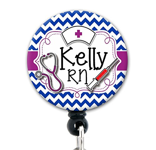 Retractable Badge Reel - Royal Blue Nurse Tools Chevron - Personalized Name - Badge - Badge Blue Tool