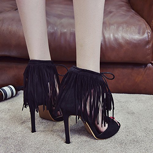 Fashion Womens Ladies Girl Buckle Tassel Ankle Strap Tassel Pointed Toe Ankle High Heels Party Singel Shoes Casual Heel high 11cm Black Summer Large Size Black rQBXf