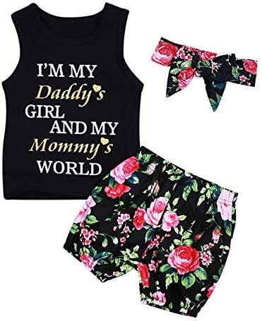 Baby Girl Clothes Daddy Mommy Print Summer Sleeveless Top and Floral Short Pant Headband Outfits Set \u2026