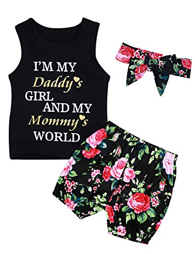 Baby Girl Clothes Daddy Mommy Print Summer Sleeveless Top and Floral Short Pant Headband Outfits Set
