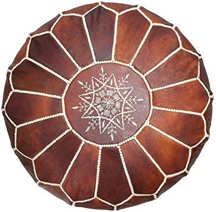 maisonmarrakech Handmade Moroccan Leather Pouf Marrakesh