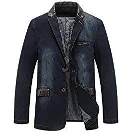 Men's 2 Buttons Denim Blazer Lapel Washed Denim Suit Jacket