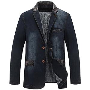 Kedera Men's 2 Buttons Denim Blazer Lapel Washed Denim Suit Jacket
