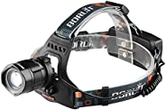 BESTSUN 2000 Lumens 5 Modes Zoomable Rechargeable LED Headlamp, Bright Hands Free Head Flashlight with USB Out