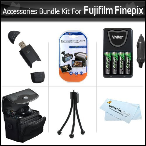 Essential Accessories Bundle Kit For Fujifilm Finepix HS20 HS25 S4500 S4400 S4300 S4200 S4000 S3400 S3300 S3200 S2950 S2800 S2500 Digital Camera Includes 4 AA High Capacity Rechargeable NIMH Batteries + AC/DC Rapid Charger + Case + Screen protectors + +