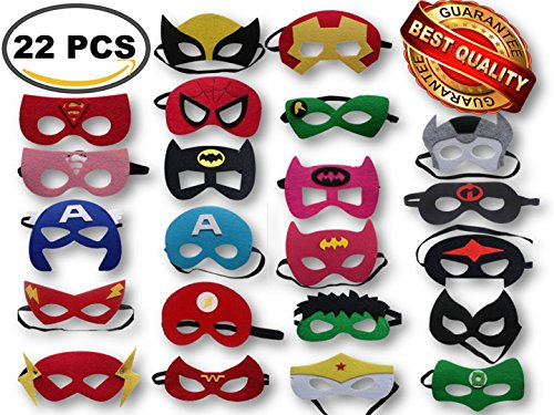 Superhero Party Masks, Multiple Sizes Through ADJUSTABLE Elastic Band, for Kids, Girls and Boys for Birthday Halloween or Avengers Party Supplies to Decoration (22 Pieces) by Gazelle's Goods (Adult Halloween Birthday Party)