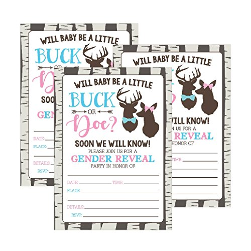 25 Buck or Doe Deer Gender Reveal Baby Shower Party Invitation Cards, Pink Blue He She Personalized For Gender Neutral Unisex Invite Guess If It's a Boy or Girl Fill -