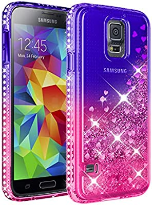 Galaxy S5 Case, Samsung Galaxy S5 Girly Cases with HD Screen Protector, Atump Fun Glitter Liquid Sparkle Diamond Cute TPU Silicone Protective Phone ...