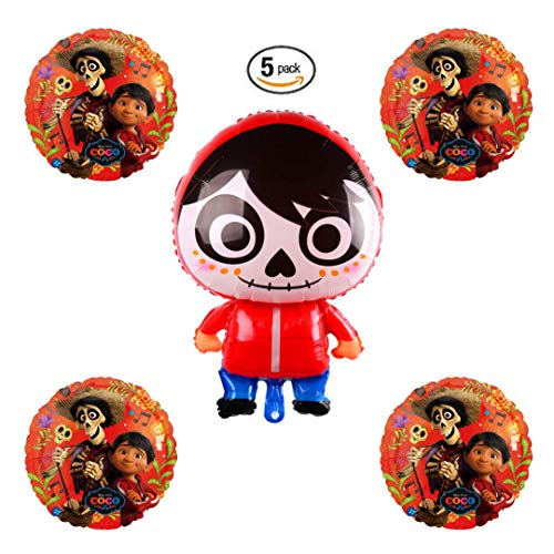 Epic Halloween Decorations (Coco Miguel Day of the Dead Balloon Bundle Pack of 5 | Halloween or Birthday Party Supply)