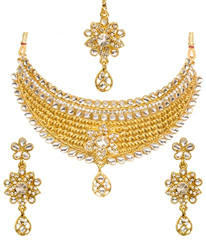 - Bindhani Women's Indian Jewelry Simple Bridal Wedding Party Wear Crafted Brides Gold Plated Kundan Polki Choker Necklace Earrings Tikka Fashion Bollywood Style Jewellery Tika Set for Bridemaids