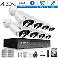 A-ZONE Security 8 Channel PoE IP Security Surveillance Camera System with 8 Outdoor/Indoor 3.6mm Fixed lens 1.3 Megapixel 960P Cameras, Free Remote View, Super HD Night Vision- with 2TB HDD