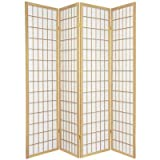 Window Pane Room Divider in Natural Number of Panels: 4