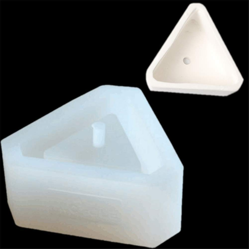Triangel Diamond Shaped Pot Ceramic Clay Mold DIY Silicone Succulent Plants Concrete Planter Vase Molds Handmade Craft Cake Pizza Jelly Microwave and Freezer Mould