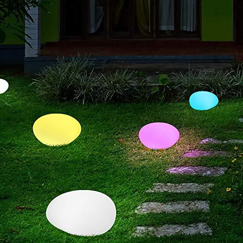 (Obell LED Outdoor Solar Stone Light - Glow Stone Shape Garden Decor Light - White&RGB Lights Waterproof Night Lights for Path Lawn Patio Pathway Walkway)