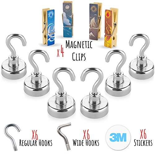 Price comparison product image Treats&Smiles Powerful 6 Pack Heavy Duty 19LB Neodymium Magnetic Hooks + 4 Magnetic Clips + 3M Non Scratch Stickers - Durable & Strong Hanging Hooks For Indoor/Outdoor Use.