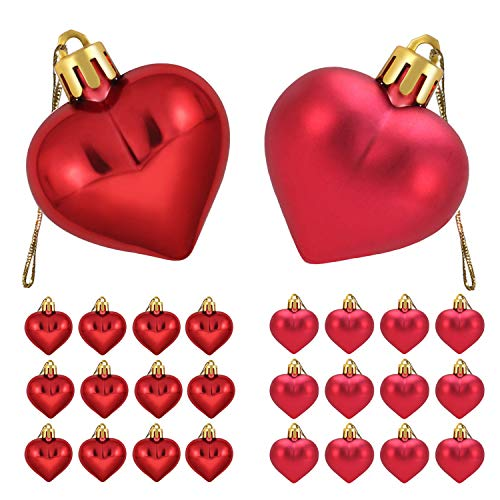 Xieda 36 Pieces Valentine's Day Heart Baubles Heart Shaped Ornaments Heart Decorations for Home Party Decor ()