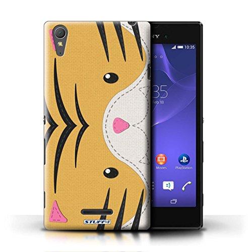 Kobalt® Imprimé Etui / Coque pour Sony Xperia T3 / Tigre conception / Série Cousu des Animaux Effet