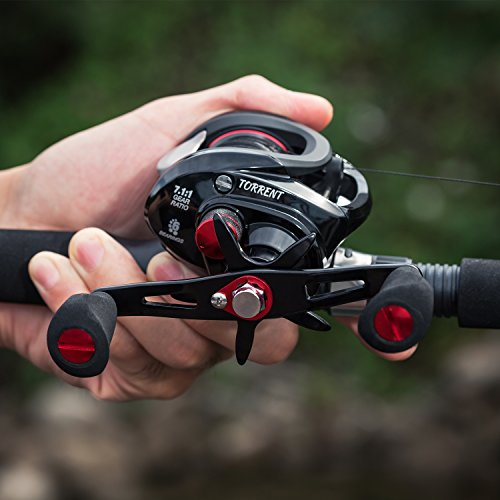 Piscifun Torrent Right Handed 7.1:1 Baitcasting Reel 18LB Carbon Fiber Drag Low Profile Baitcaster Fishing Reel Tournament Baitcast Reels