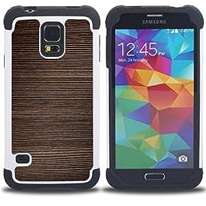 "Pulsar ( Textura Horizontal Líneas de Brown"" ) SAMSUNG Galaxy S5 V / i9600 / SM-G900 V SM-G900 híbrida Heavy Duty Impact pesado deber de protección a los choques caso Carcasa de parachoques [Ne"