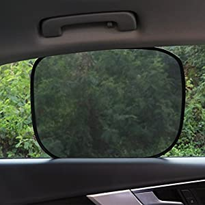 """Car Sun Shade - 4 Pack Cling Car Side Windows Sunshade for Baby,Car Sunshades Protector,80 GSM for Maximum UV/Sun/Glare Protection for Kids,2 Pack 20""""x12"""" and 2 Pack 17""""x14"""" for Side Window Sunshades"""