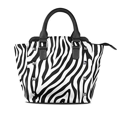 Women's Top Handle Satchel Handbag Zebra Skin Print Ladies PU Leather Shoulder Bag Crossbody Bag ()