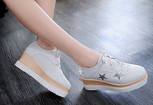 Round Star Kitten Wedge Pumps Platform Sole Heels Womens Shoes Aisun Thick Pattern Breathable Sneakers Toe Lace Casual White Up xqSnZtaX