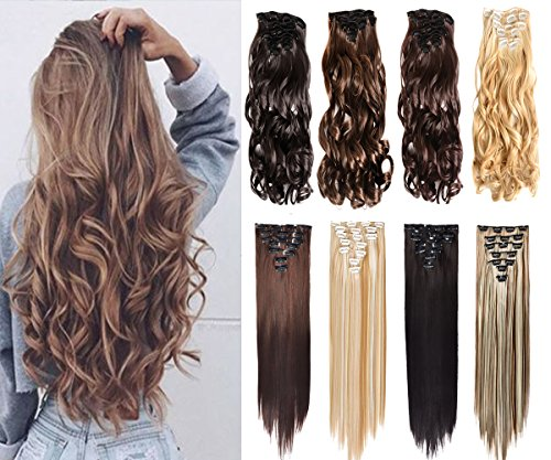 16 Clips Thick Curly Straight Full Head Clip In Double Weft Hair Extensions Women Lady Hairpiece with 7 Pieces (24