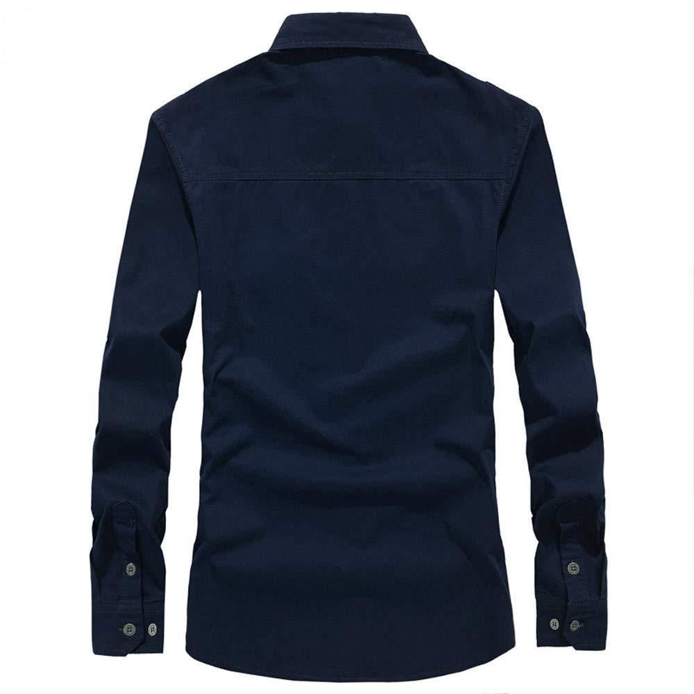 Blusa de Hombre by BaZhaHei Superior de Manga Larga de Hombre de Polo Larga de botón Camisetas de Carga Militar para Hombre de otoño del Manga Larga de ...