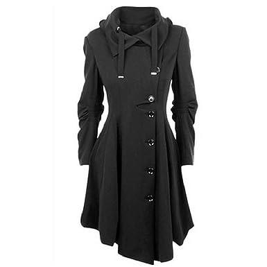 Black trench coat parka
