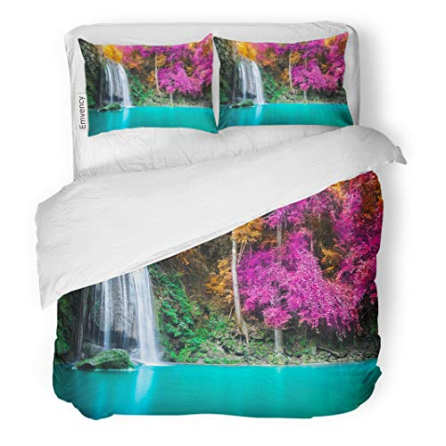 Semtomn Decor Duvet Cover Set Twin Size Green Waterfall in Autumn Forest at Erawan National Park 3 Piece Brushed Microfiber Fabric Print Bedding Set Cover -