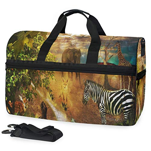 (Gym Bag Inspiring Elephant Painting Sport Travel Duffel Bag with Shoes Compartment Large Capacity for Men/Women)