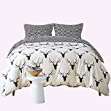 Zebra Elk Pattern Duvet Cover Set Black and White Animal Bedding Set Super Soft Comforter Cover for Home Hotel(Queen)