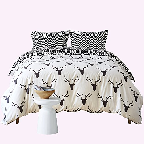 Zebra Elk Pattern Duvet Cover Set Black and White Animal Bedding Set Super Soft Comforter Cover for Home Hotel(Queen) by KISS QUEEN