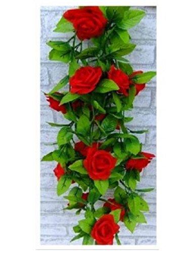 2.5M Artificial Silk ROSE Fake FLOWER Ivy Leaf Garland Plants Home Wedding Decor Color Red