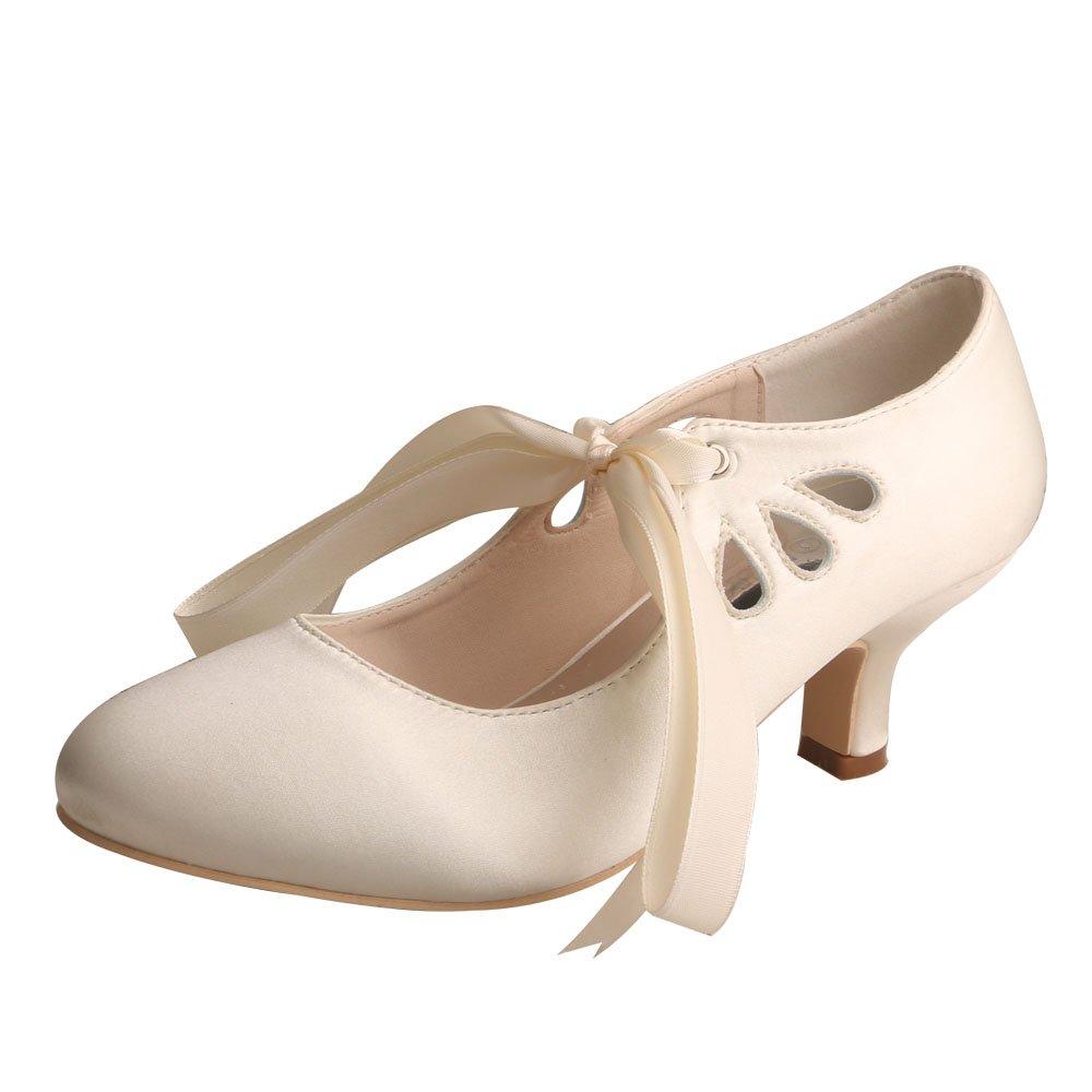Wedopus MG306 Geschlossene Zehe Ktzchen Ferse Mary Jane Prom Lace Ribbon Tie Frauen Hochzeit Schuhe f¨¹r die Braut  | Online Shop  | Authentische Garantie
