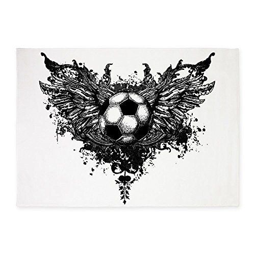 5' x 7' Area Rug Soccer Ball Futbol Angel Wings by Royal Lion