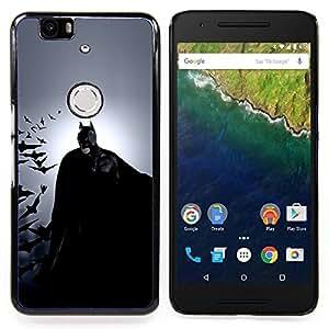 """Qstar Arte & diseño plástico duro Fundas Cover Cubre Hard Case Cover para Huawei Google Nexus 6P (Oscuro Murciélago Superhéroe"""")"""