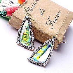 Lucrative shop 2017 Oorbellen Orecchini Earings Fashion Exquisite Shiny Gradient Color Triangle Dangle Earrings For Women Factory Wholesale