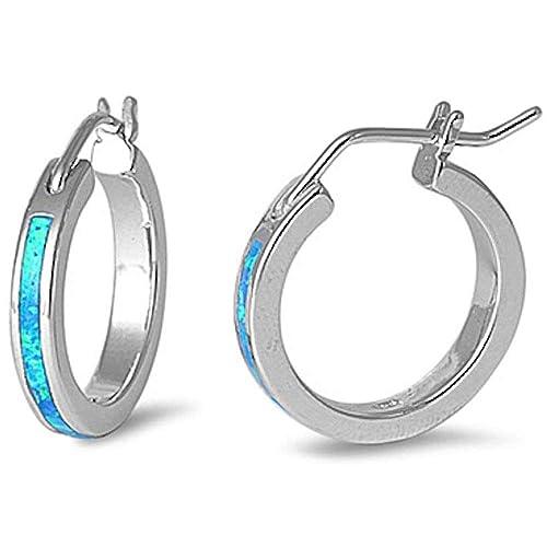 Lab Created Blue Fire Opal Round Hoop .925 Sterling Silver Earrings 5079